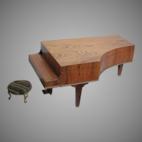 Antique Wood  Grand Piano Music box  Doll size  Beautiful wood  Play a Waltz with Small Stool