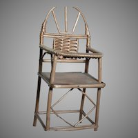 Miniature Wood & Woven Wicker Doll  High Chair
