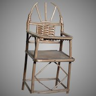 Miniature Wood & Woven Wicker Doll  High Chair