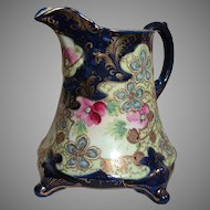 Large Nippon Footed Porcelain Pitcher Hand Painted Cobalt Blue Gold and Floral