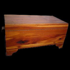 Miniature  Old Footed Wood Cedar Chest