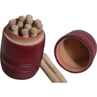 Wooden Red Barrel with Miniature Clothespins