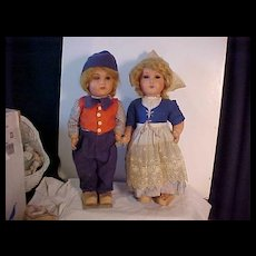 Pair Of Unusual Dutch Dolls Made In Belgium