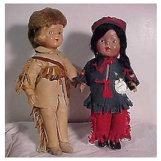 Composition Davy Crockett And Hiawatha In Original Costumes