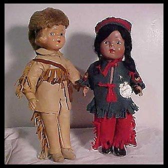 Composition Davy Crockett And Hiawatha In Original Costumes