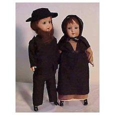 Pair Of German Dolls Dressed Originally As An Amish Couple