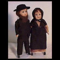 Pair Of German Dolls Dressed Originally As An Amish Couple