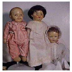 Three Composition Mama Dolls From The Early Nineteen Hundreds