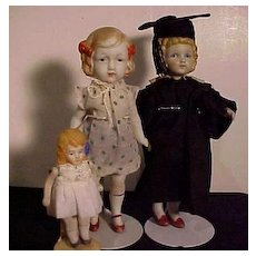 Trio Of All Bisque Dolls With Painted Features