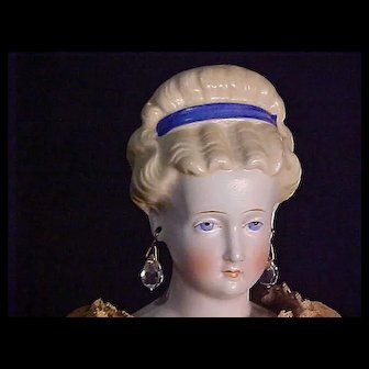 Parian Lady With Elaborate Hairstyle And Pierced Ears