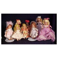 Group of Eight Nancy Ann Story Book Dolls In Original Costumes