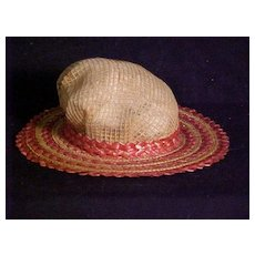 Very Stylish Antique Hat In Boater Style