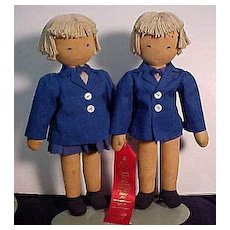 Pair of W P A Cloth Dolls In Origianl Condition