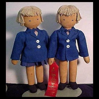 Pair of W P A Cloth Dolls In Origianl Condition