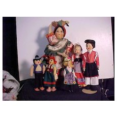 Six Dolls Dressed In Authentic Regional Costumes Including One Tagged Lenci