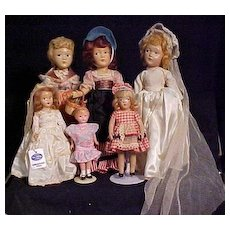 Six American Composition Play Dolls In Very Good Condition Including A Glow In The Dark Doll