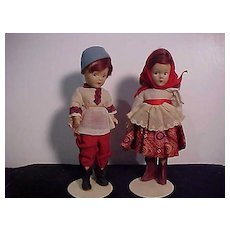 Pair Of Wendy Ann Composition Madame Alexander Dolls In Original Russian Outfits