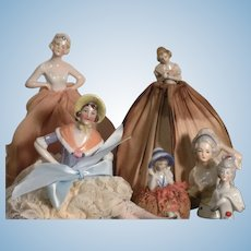 Group of Six Half Dolls Also Called Pin Cushion Dolls
