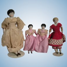 Group of Four German China Dolls For Your Doll House