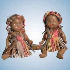 Pair Of Composition Regional Doll In Unusual Original Costumes Representing Hawaii