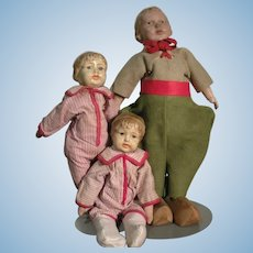 Group Of Three Composition Dolls From The Early Nineteen Hundreds