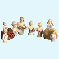 Group Of Eight Half Dolls Or Pin Cushion Dolls