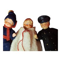 """Trio of Antique Painted Bisque 3 1/2"""" Dolls including Policeman with Molded Hat from Germany"""