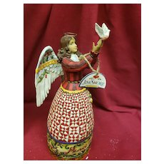 Christmas in July!! Jim Shore May Peace Fill Your Heart Angel & Dove Folk Art