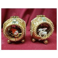Christmas in July!! Vintage Glitter Reindeer Gnome Pair of Candle Holders 1950's