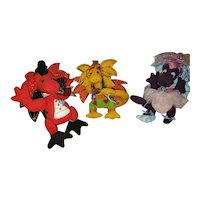 Adorable Trio of Dragons by Teddy Bear Artist Deb Canham