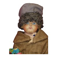 """Antique 12"""" Russian Low Fired Bisque Boy Doll from Russia in Regional Costume"""