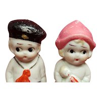 Cute Little All Bisque Sailor and Dutch Girl holding Doll from Japan