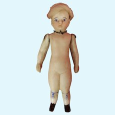 """Interesting Early Bisque 4 1/2"""" Doll with Glazed lower legs"""