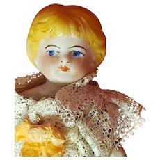 "Antique German Bisque 5"" Doll house doll with molded blonde hair"