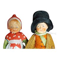 """Vintage Painted Bisque Dolls 5"""" Regional Couple from Germany"""