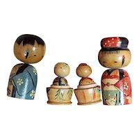 Vintage Kokeshi Japanese Nesting Bobblehead Dolls Nester Doll Pair from Japan