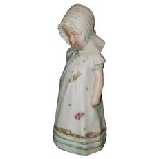 """Adorable Victorian Bisque Figurine of 6 1/2"""" Little Girl"""