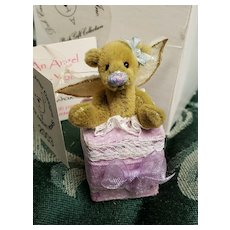 "Deb Canham Tiny Mini Angel Bear in Present Box only 2 1/2"" tall!"