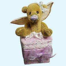 "Deb Canham Tiny Mini Angel Bear in Present Box only 2 1/2"" tall!"