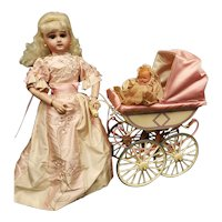 Beautiful Pink and White German Marklin Doll Carriage from Germany with Box
