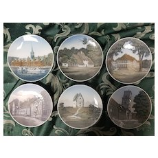 Pretty Set of Six Royal Copenhagen Plates Muted Colors showing Scenes of Denmark