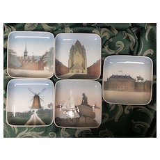 A Lovely Set of 5 Square Plates from  Denmark of Muted Color Scenes by Bing and Grondahl