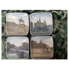 Sweet Set of Four Square Plates by Bing and Grondahl of Denmark with Muted Pictures of the Country