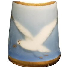 A Flying Seagull Porcelain Thimble by Bing & Grondahl of Denmark w Box A Lovely Gift for a Sewer or Bird Lover!!