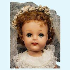 "Adorable 1950's Ideal 17"" Vinyl Faced Posie Saucy Walker Doll in Bridal Ensemble"