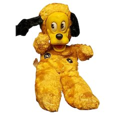 Vintage Gund MFG Co. Walt Disney Pluto Plush Rubber Face Doll Yellow Dog Rare