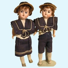 Pair Of German Children In Their Original Sailor Suits