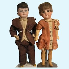 Pair Of Petite German Dolls In Original Costumes