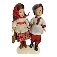 "Pair Of Vintage Madame Alexander 9"" Composition Dolls In Original Russian Attire"
