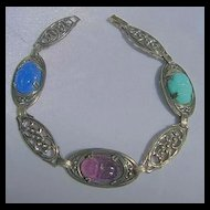 Egyptian Style Sterling Silver, Poured Glass Scarab Bracelet with Filigree Design